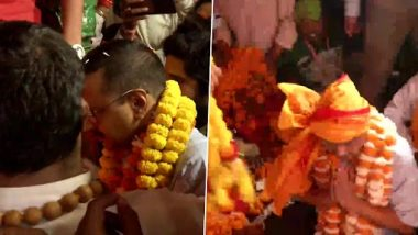 Delhi CM Arvind Kejriwal Offers Prayer at Hanuman Garhi Temple in Ayodhya