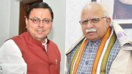 Uttarakhand CM Pushkar Singh Dhami Thanks Manohar Lal for Providing Rs 5 Cr Financial Assistance for Rain-Affected State